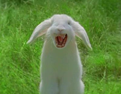 Scary rabbit with sharp teeth