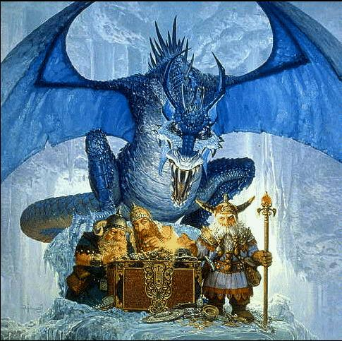 blue dragon over dwarves
