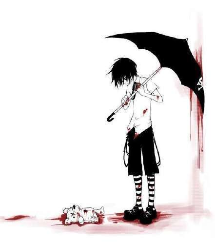 bloody teddy bear in bloody room with emo kid with umbrella