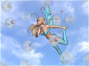 fairy blowing bubbles