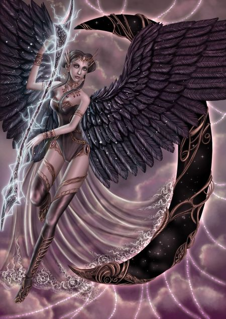 dark angel with lightning