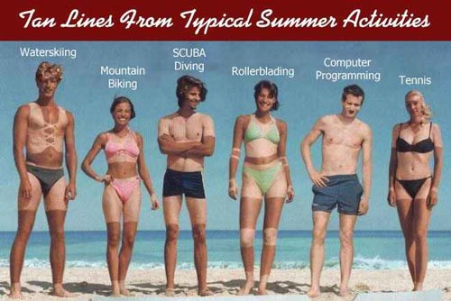tan lines from typical summer activities