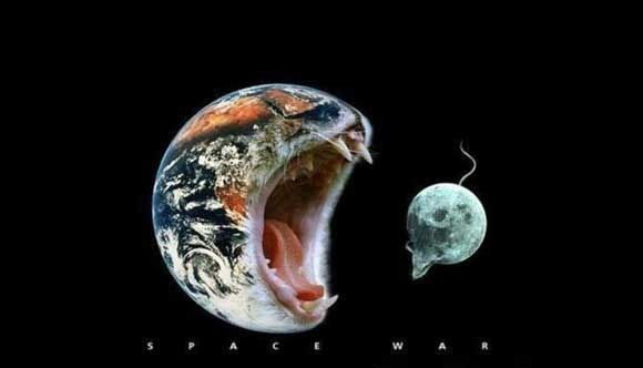 cat earth eats mouse moon space war