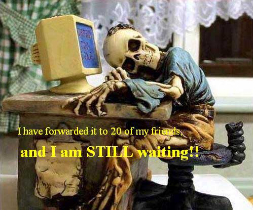 skeleton waiting after forwarding email