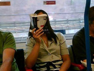 woman's face is a book