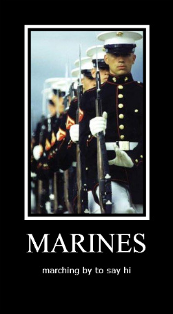 marines marching by to say hi
