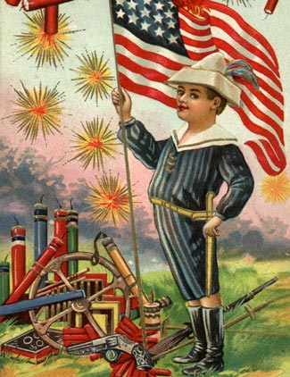 4th of July vintage postcard