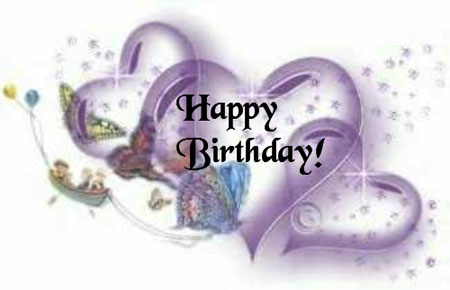 happy birthday hearts and butterflies