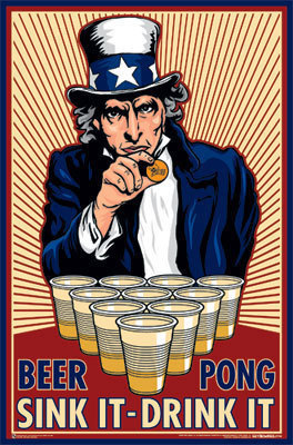 beer pong sink it drink it uncle sam
