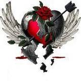 broken heart with angel wings and arrow
