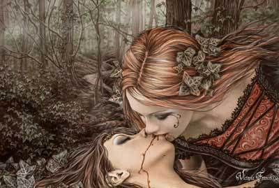 girls kissing in the woods