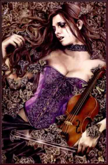 sexy girl laying in leaves with violin