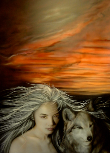 lady with wolf