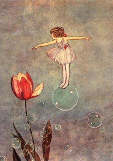 little girl floating on a bubble