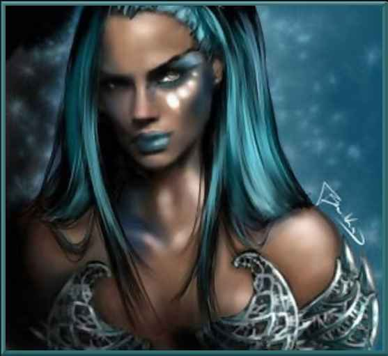 blue haired woman fantasy art