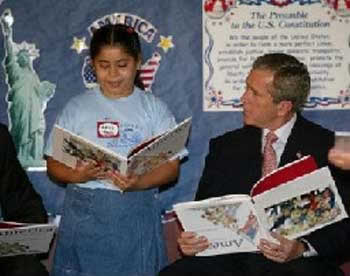 george bush reads upside down