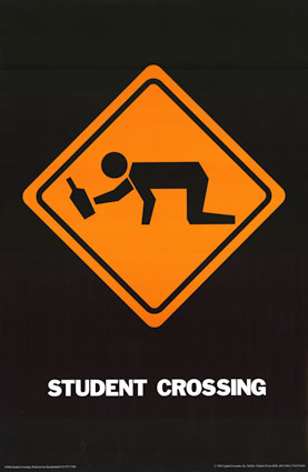 drunk student crossing