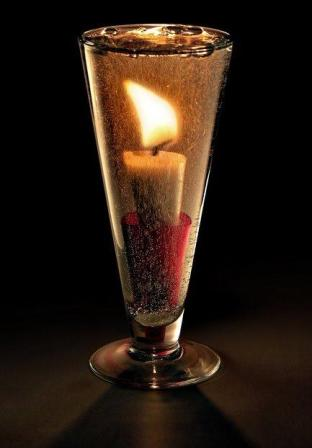 candle in liquid
