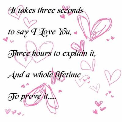 it takes three seconds to say i love you three hours to explain it and a while lifetime to prove it