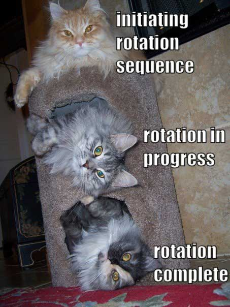 initiating rotation sequence rotation in progress rotation complete