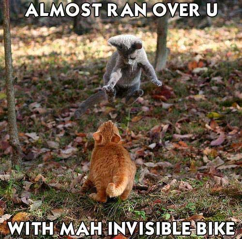 almost ran you over with my invisible bike