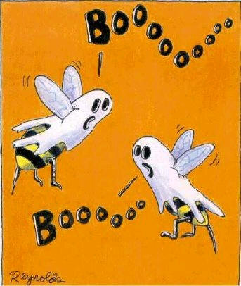 bumble bees dressed up as ghosts boo