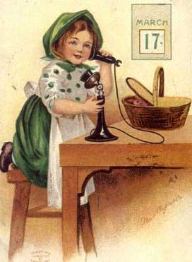 st patricks day girl talking on phone march 17