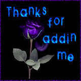 thanks for addin me purple flower