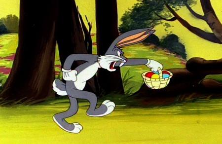 bugs bunny carrying easter basket with easter eggs