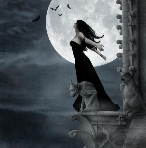 girl stands on ledge under the moon