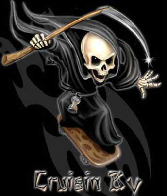 cruisin by grim reaper on a skateboard