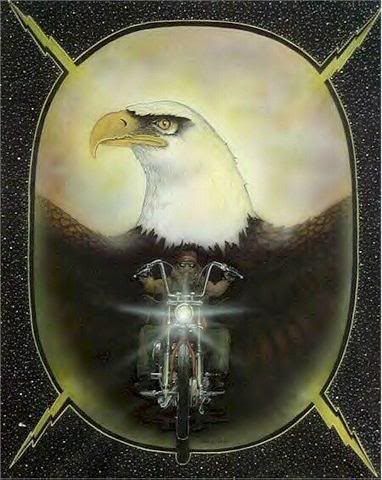 man on motorcycle eagle