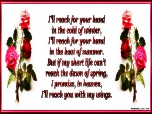 i'll reach for your hand in the cold of winter