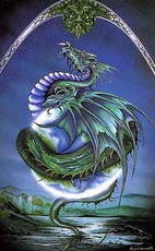 green and blue dragon