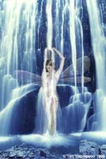 fairy taking shower in waterfall