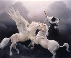 unicorn fighting a pegasus with death close at hand