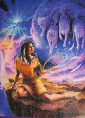 native american woman with wolves in the sky