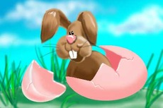 easter bunny hatches out of easter egg
