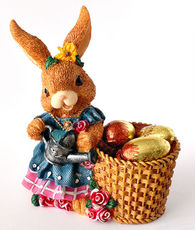 easter bunny with chocolate eggs