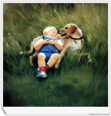 little boy sleeping on a dog
